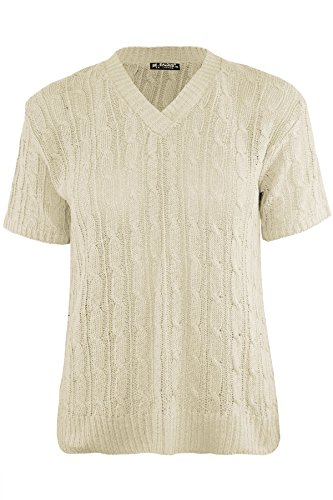 (Be Jealous Womens Ladies Short Sleeve V Neck Chunky Cable Knitted Sweater Pullover Jumper)