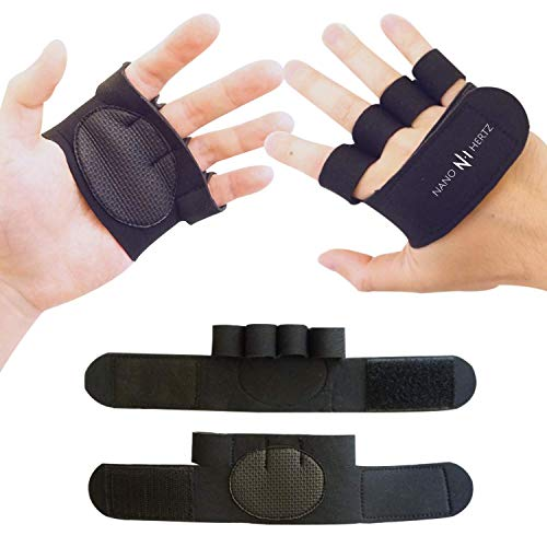 NH Weight-Lifting Crossfit Workout Fitness Gloves | Callus-Guard Gym Barehand Grips Accessories | Support Cross-Training, Rowing, Power-Lifting, Pull Up for Men & Women (Black, Small)