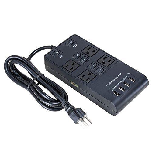 eDealMax AC95-240V nos enchufe 4 US Salida 4 USB chagers inteligente zó calo de carga DE 5 pies de Cable Negro MX_DLM-B01GDU6YS2