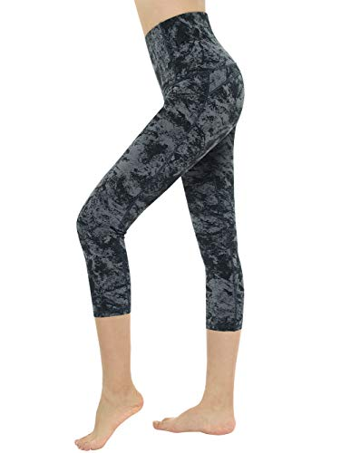 - Dragon Fit Compression Yoga Pants Power Stretch Workout Leggings with High Waist Tummy Control (Large, Capri-Carbon Grey Marble)