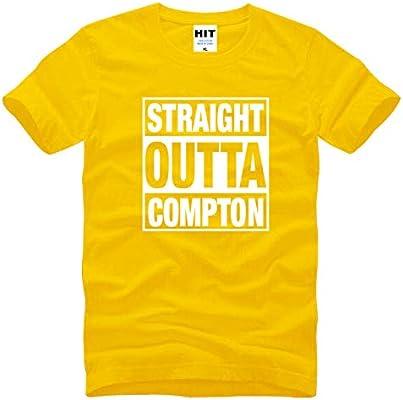 Código Europeo Cuello Redondo Rap Hip Hop Letra Logo Camiseta, Manga Corta de Algodón para Hombres, Camisa Suelta Simple,Amarillo,XL: Amazon.es: Bricolaje y herramientas