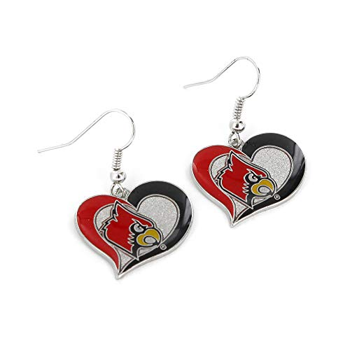 NCAA Louisville Cardinals Swirl Heart Earrings