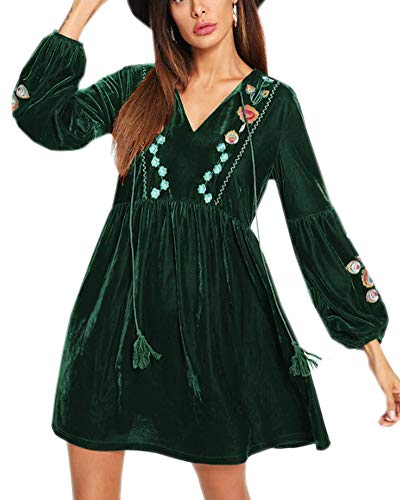 Aofur Women Bohemian Vintage Embroidered Velvet Spring Shift Mini Dress Long Sleeve Casual Tops Blouse (XX-Large, SR022 Green)