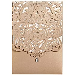 Wishmade 50pcs Gold Laser Cut Wedding Invitations Hollow Vertical Lace Flower Invitation Cards Kit with Rhinestone Marriage Engagement Bridal Shower Birthday Party Supply (set of 50pcs) CW5010