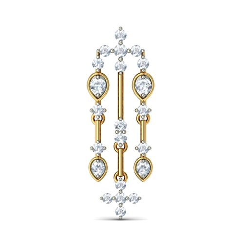 Or jaune 18 K 1.4 CT TW White-diamond (IJ | SI) Pendants d'oreilles