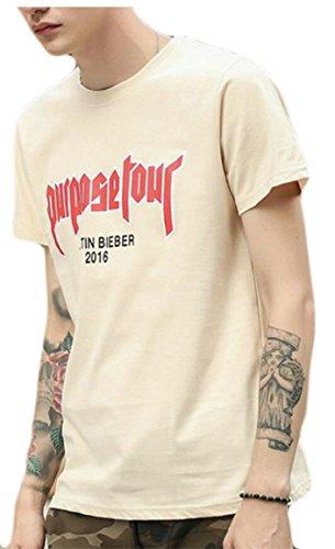 M&S&W Men's Fashion Clothing Plus Size Hip Hop Basic Letter Printing T-Shirt Khaki XXL ()