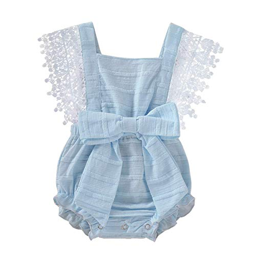 GRNSHTS Infant Baby Girls White Hollow Ruffles Sleeve Lace Romper Sunsuit Bodysuit (Bowknot Blue, 6-12 Months) (White Infant One Piece)