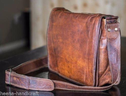 Leather Full Flap Messenger Handmade Bag Laptop Bag Satchel Bag Padded Messenger Bag School Bag Brown (13X18)