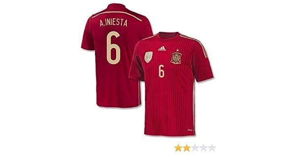 adidas España 2014 2015 Camisa casa Iniesta, Unisex, Color Rojo - Rosso, tamaño XL: Amazon.es: Deportes y aire libre