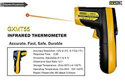 Geatex -58 to 1022°F Non-contact Infrared IR Thermometer-durable Digital Handheld Ir Gun W/laser Pointer- Consistent, Instant Temps for Industrial, Electrical, Auto, Ac, Energy Audits- Handy & Reliable for Cooking-grill, Deep-fryer, Oven, Wood Stove