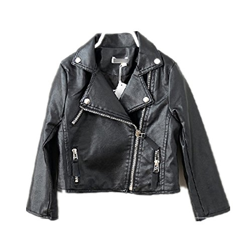 Girl Motorcycle Jackets (LJYH Girls Leather Motorcycle Jacket Children's PU Love Coat, Black, Size)