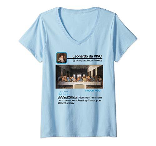 Womens Leonardo da Vinci Insta Influencer Taco Tuesday Last Supper V-Neck T-Shirt]()