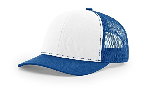 Trucker White Cap (Richardson White/Royal 112 Mesh Back Trucker Cap Snapback Hat)