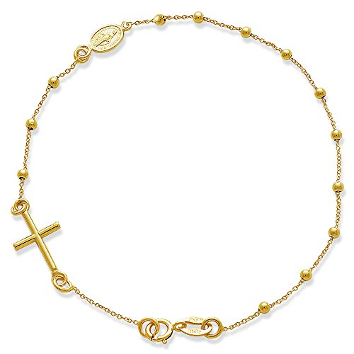 Rosary Bracelet-14KY Gold Rosary Bracelet with Cross and Miraculous Medal (Bracelet Yellow 14k Rosary Gold)