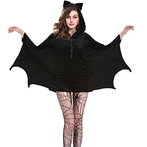 Black Sexy Bat Halloween Cozy Costume for Women, Vampire Costume Cosplay Party Masquerade (XXL)