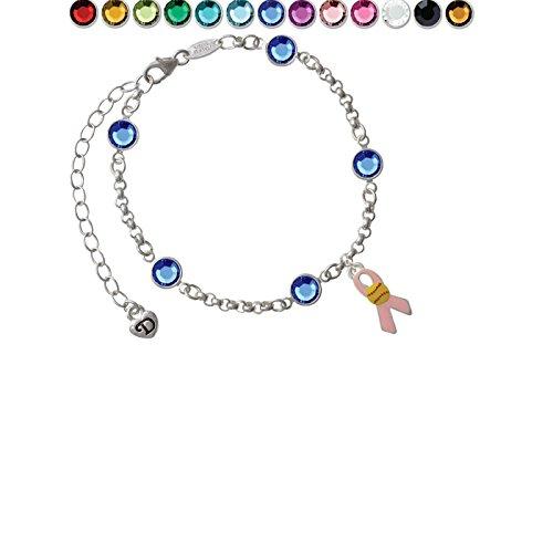 Pink Ribbon with Softball Custom Crystal Color Fiona Charm Bracelet