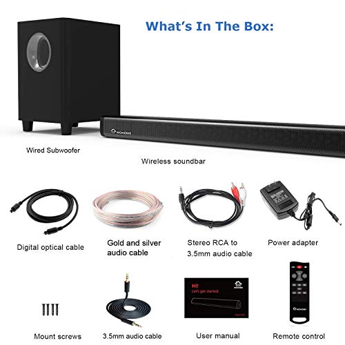 2.1 Channel Bluetooth Sound Bar Wohome TV Soundbar with Subwoofer 120W 32Inch 95dB 4 Drivers Remote Control 2019 Updated Model S18 by WOHOME (Image #6)