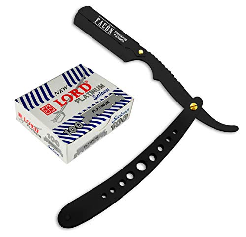 100 BLADES + Facón Professional Classic Straight Edge Barber Razor - Salon Quality Cut Throat Shavette by Facón Razors (Image #7)