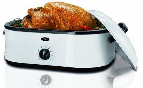 Oster CKSTRS71 18-Quart Roaster Oven with Buffet Server, White