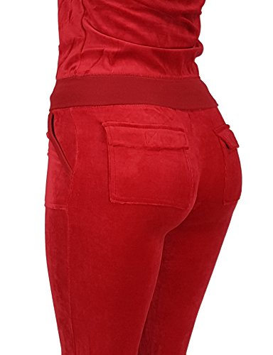 Women's Lightweight Hoodie & Sweatpants Velour Suit 2 Piece Loungewear Set (S-3XL) X-Large Red