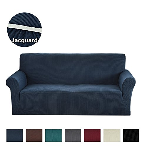 Denim Slipcover Blue (Argstar Jacquard Sofa Slipcover Soft Elastic Navy Blue)