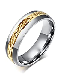 Fashion Jewelry Stainless Steel Couple Ring for Promise Wedding Band Engagement,Middle Gold Plated