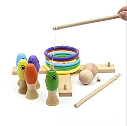 Rolimate 3 in 1 Preschool Educational Early Development Wooden Magnetic Bath Fishing + Ring Toss+ Blowing Game, Birthday Gift Toys for age 3 4 5 Year Old Kid Children Baby Toddler Boy Girl Magnet Toy