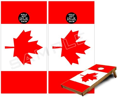 Cornhole Bag Toss Game Board Vinyl Wrap Skin Kit - Canadian Canada Flag (fits 24x48 game boards - Gameboards NOT INCLUDED) (Cornhole Bags Canada compare prices)