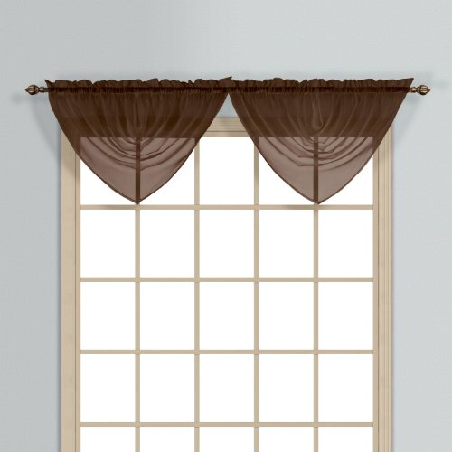 United Curtain Monte Carlo Sheer Waterfall Valance, 60 by 34-Inch, Chocolate ()