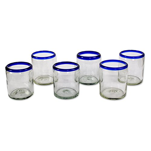 NOVICA Hand Blown Clear Blue Recycled Glass Tumbler Glasses,10 oz 'Cobalt Rings' (set of 6)
