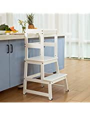 Mangohood Kitchen Helper for Kids and Toddlers with Safety Rail Children Standing Tower for Kitchen Counter, Mothers' Helper Kids Learning Stool, Solid Wood Construction White
