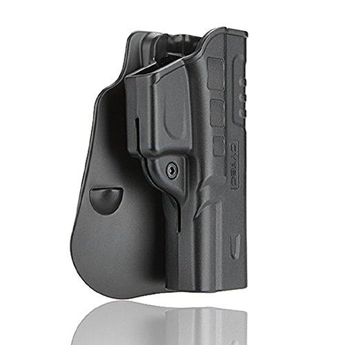 Glock 17 22 31 Paddle Holster, Adjustable Cant Polymer Holsters, Matte Finish Tactical OWB Pants Holster, Black (Fast - Adjust Paddle Angle Holster