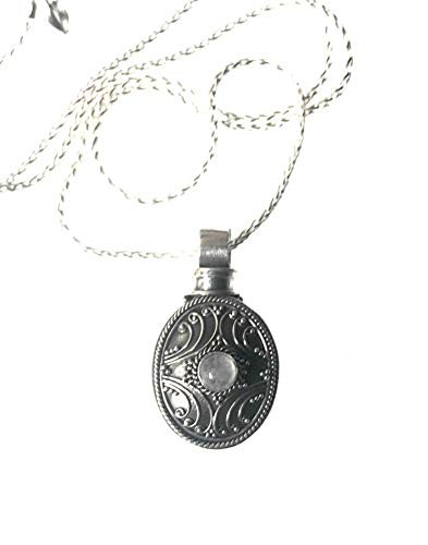 Sterling Silver cremation Urn for Ashes Keepsake moonstone memorial for ashes hair funeral flowers death of mom or loved one stillbirth miscarriage death of pet ()