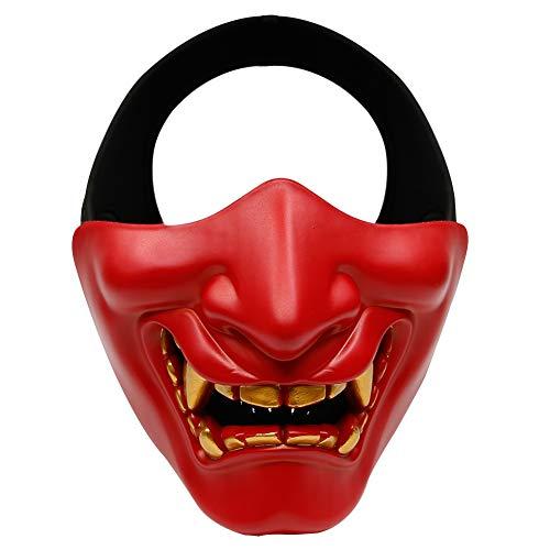 Outdoor Base Airsoft Half Face Mask Evil Demon Monster Kabuki Samurai Hannya Oni Protective Masks for Halloween Cosplay Costume Tactical Hunting Shooting Red ()