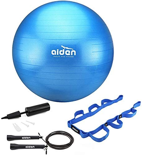 OLIVIA AIDEN Exercise Ball Set - 65cm Anti-Burst Balance Ball for Yoga, Pilates, Birthing, Stability Training and Physical Therapy Includes Stretch Band, Jump Rope and Air Pump