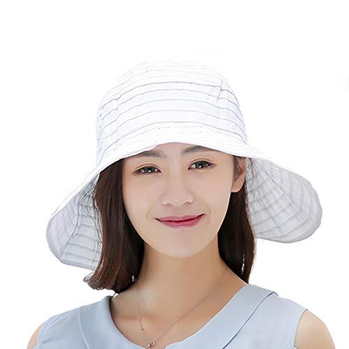 Summer Wide Brim Foldable Packable Sun Blocking Hat Floppy Beach Sand Pool UPF 50+ Visor Cap Women Ladies Kids Girls (Beach 1-W- White, Adjustable)