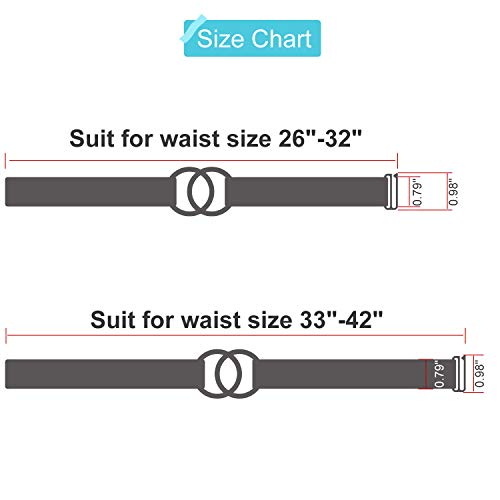 Women Stretch Belt for Dresses Elastic Web Waist Belt with Double O-Ring Buckle(Fits Waist 26-32 Inches,2-Black-Gun Buckle)