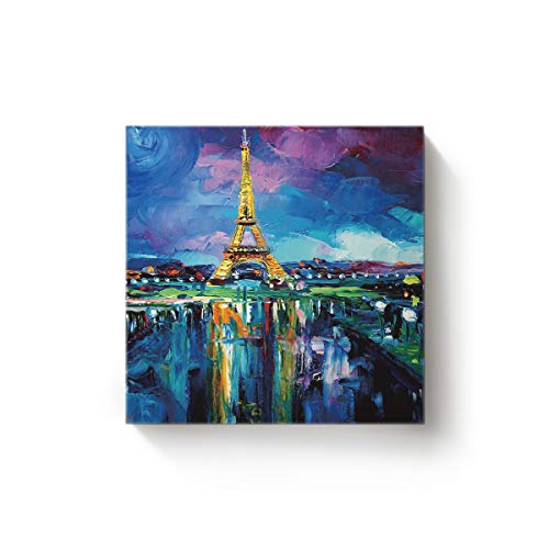 YEHO Art Gallery Canvas Wall Art Square Artwork Christmas Office Home Decor,The Eiffel Tower is in Paris Beauty City Painting Pictures,Stretched by Wooden Frame,Ready to Hang,12 x 12 Inch
