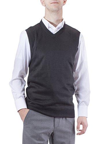 Alberto Cardinali Men's Solid Color V-Neck Sweater Vest SVS1 (Medium, Black)