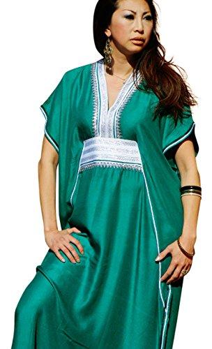 Caftan nouveau ressort pour porter à la main Houss'en coton Motif Dubaï Vert