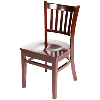 Oak Street Manufacturing WC102MH Solid Mahogany Wood Frame Verticalback  Dining Chair With Mahogany Wood Seat,