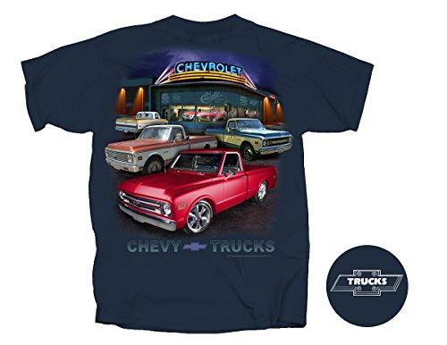 Joe Blow GM Chevy Truck Dealer Scene 67-72 Adult T-Shirt, XX-Large, Blue Dusk - Chevy Truck T-shirt