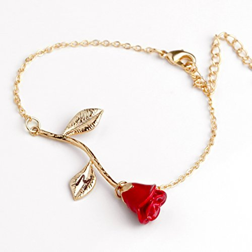 Red Petal Rose Bracelet in Gold Beauty and the Beast Rose Bracelet Initial Bracelet Christmas Gifts for Mom (M)