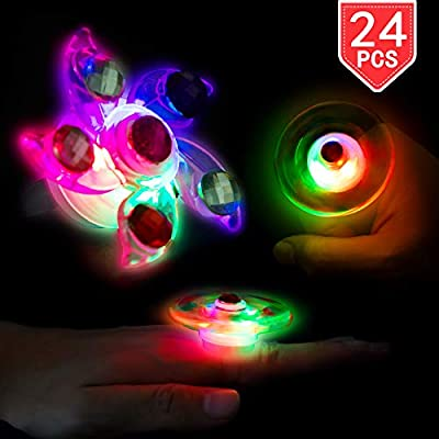 PROLOSO LED Rings Light Up Fidget Toys Glow in The Dark Party Favors Spiral Twister Toys Gyro Flashing Jewelry 24 Pcs: Toys & Games