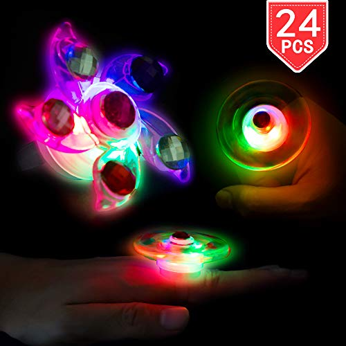 PROLOSO 24 Pcs LED Rings Light Up Fidget Toys Glow in The Dark Party Favors Spinning Tops Flashing Jewelry