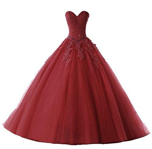 New Quinceanera Gown (SMJ Women's Sweetheart Lace Appliques Quinceanera Dress Sweet 16 Quinceanera Prom Ball Gown SMJ034)