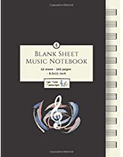 Blank Sheet Music Notebook: Music Manuscript Paper / White Marble Blank Sheet Music / Notebook for Musicians / Staff Paper / Composition Books Gifts Standard for Students / Professionals * Large * 12 Stave * 102 pages *