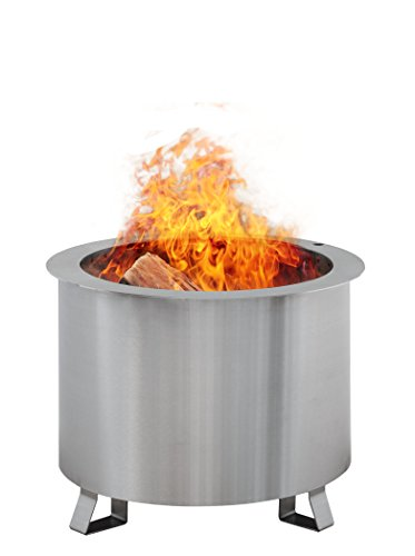 Double Flame Patio Fire Pit Wood-Burning, Smoke-less, Portable, Stainless Steel Fire Pit for Backyard Made in America