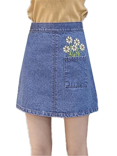 Brod Jupe Blue Jean Haililais en Taille Haute t A Line Grande Court Amincissante Femelle Jupe Femme Mode en Taille Jupe Jupe Jupe 11wRUqt