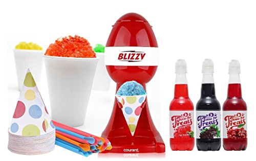 BLIZZY Snow Cone Maker & Syrup Set | Includes: (1) Blizzy Electric Ice Shaver (3) Different Snow Cone Syrup Flavors (20) 6 oz. Paper Cone Cups (20) Plastic Straws | Snow Cone Machine (Best Snow Cones In Houston)